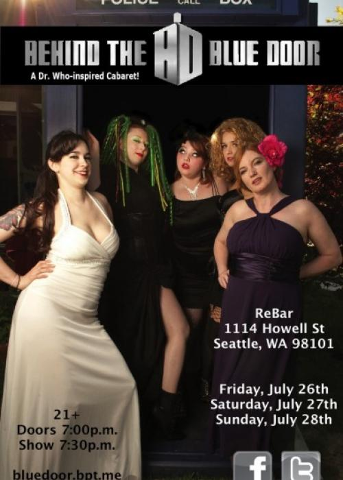 poster for the behind the blue door Dr. Who burlesque show