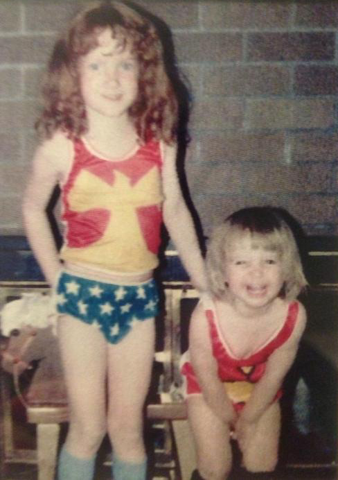photograph of JoJo Stiletto as a child dressed in Wonder Woman underoos
